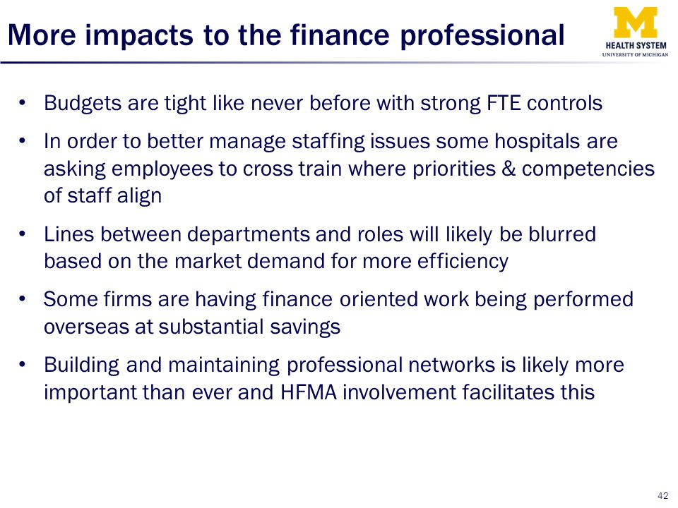 More impacts to the finance professional