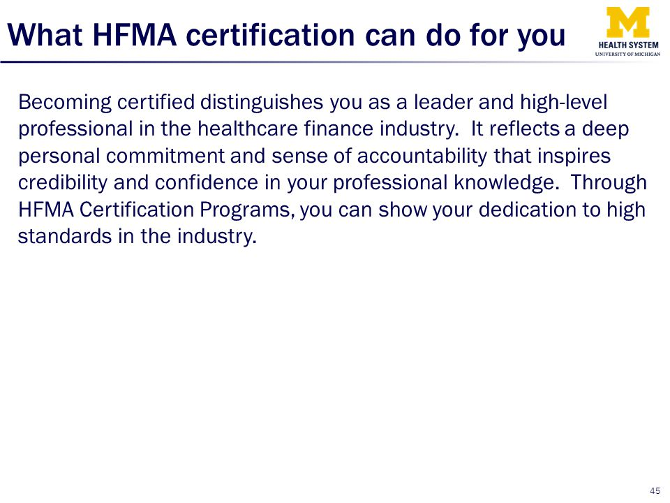What HFMA certification can do for you