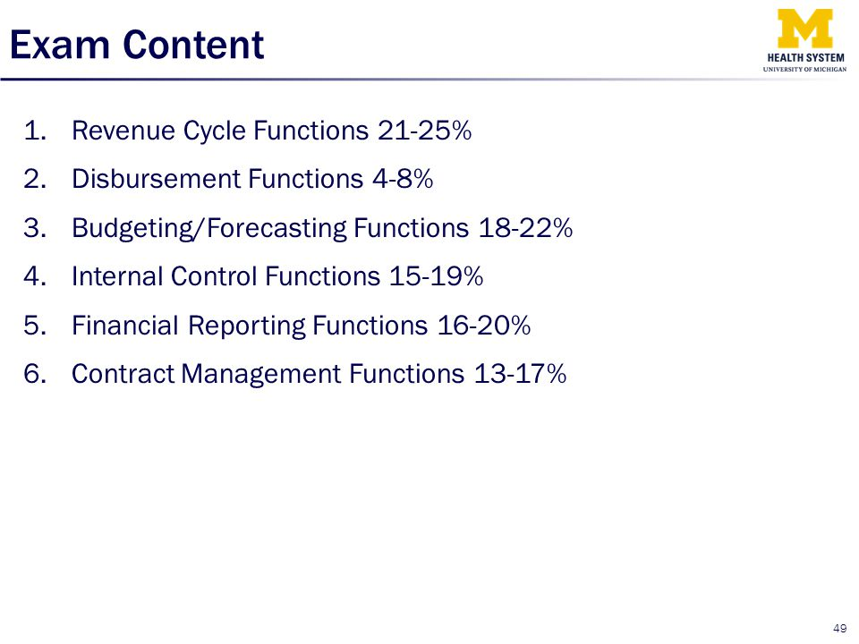 Exam Content Revenue Cycle Functions 21-25%