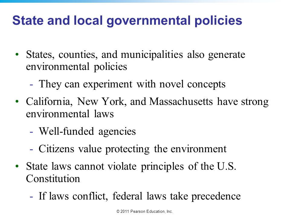 State and local governmental policies