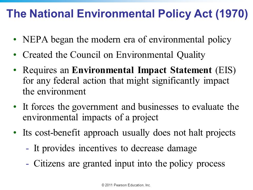 The National Environmental Policy Act (1970)