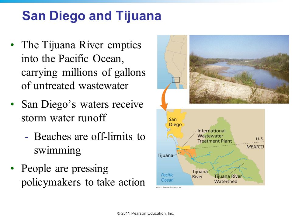 San Diego and Tijuana The Tijuana River empties into the Pacific Ocean, carrying millions of gallons of untreated wastewater.