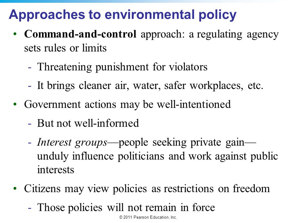 Approaches to environmental policy