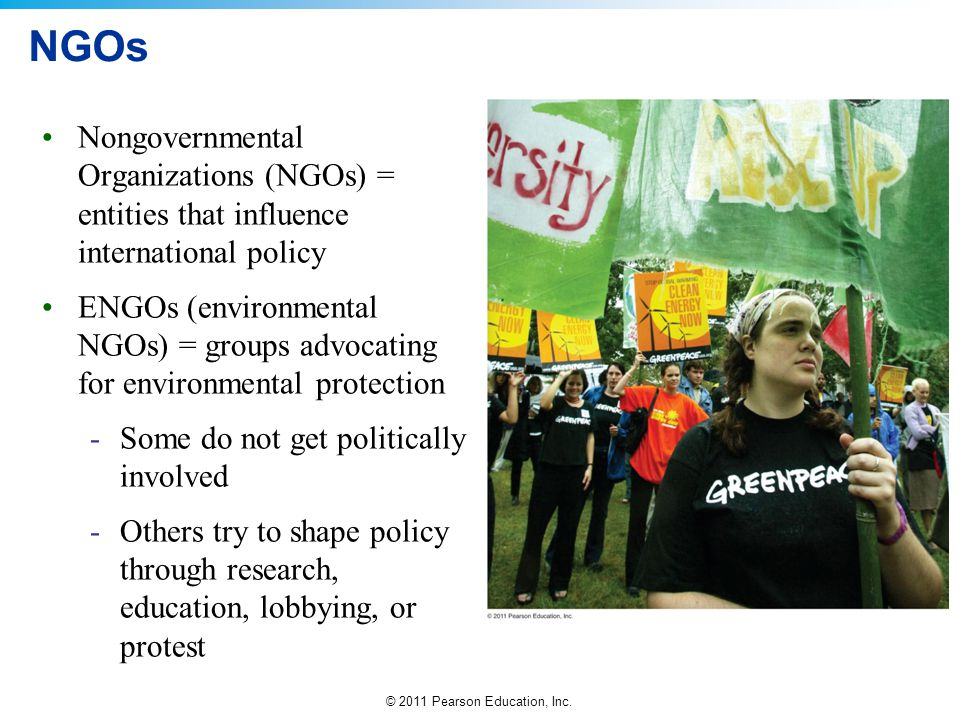 NGOs Nongovernmental Organizations (NGOs) = entities that influence international policy.