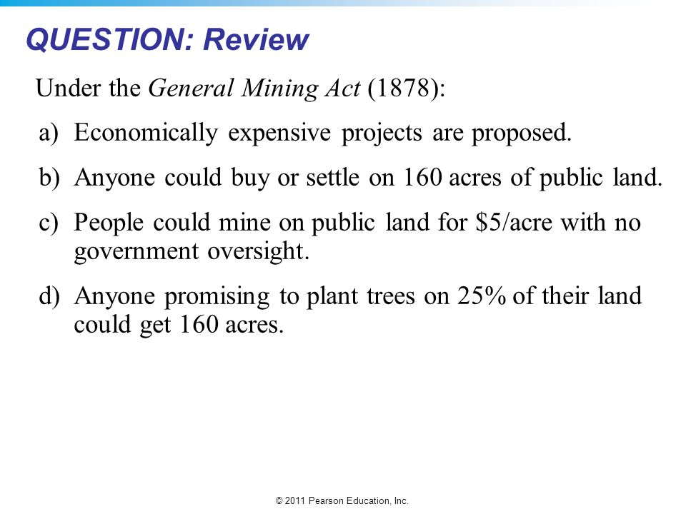 QUESTION: Review Under the General Mining Act (1878):