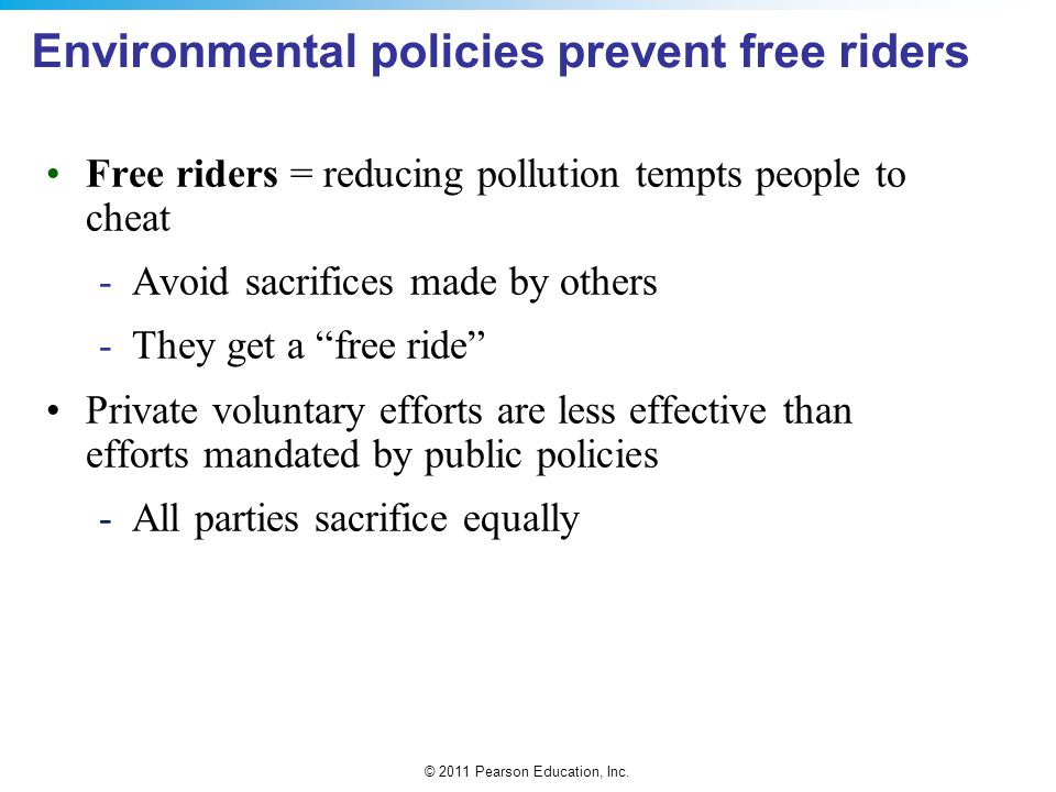 Environmental policies prevent free riders