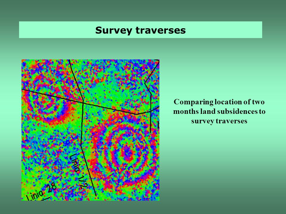 Comparing location of two months land subsidences to survey traverses