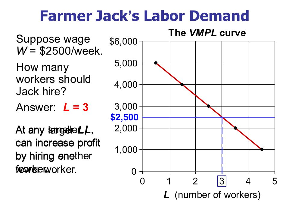 VMPL and Labor Demand For any competitive, profit-maximizing firm: