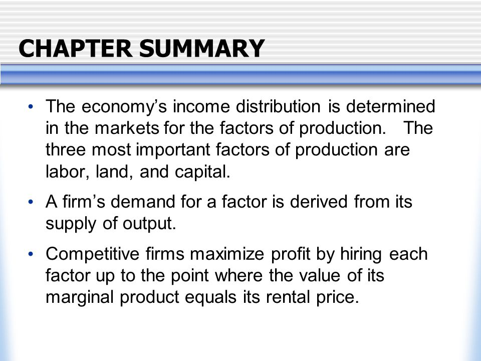 CHAPTER SUMMARY The supply of labor arises from the trade-off between work and leisure, and yields an upward-sloping labor supply curve.