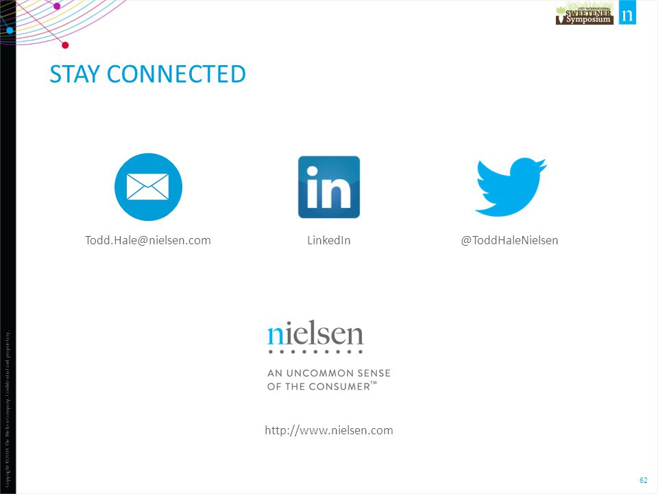 Stay Connected LinkedIn @ToddHaleNielsen Todd.Hale@nielsen.com