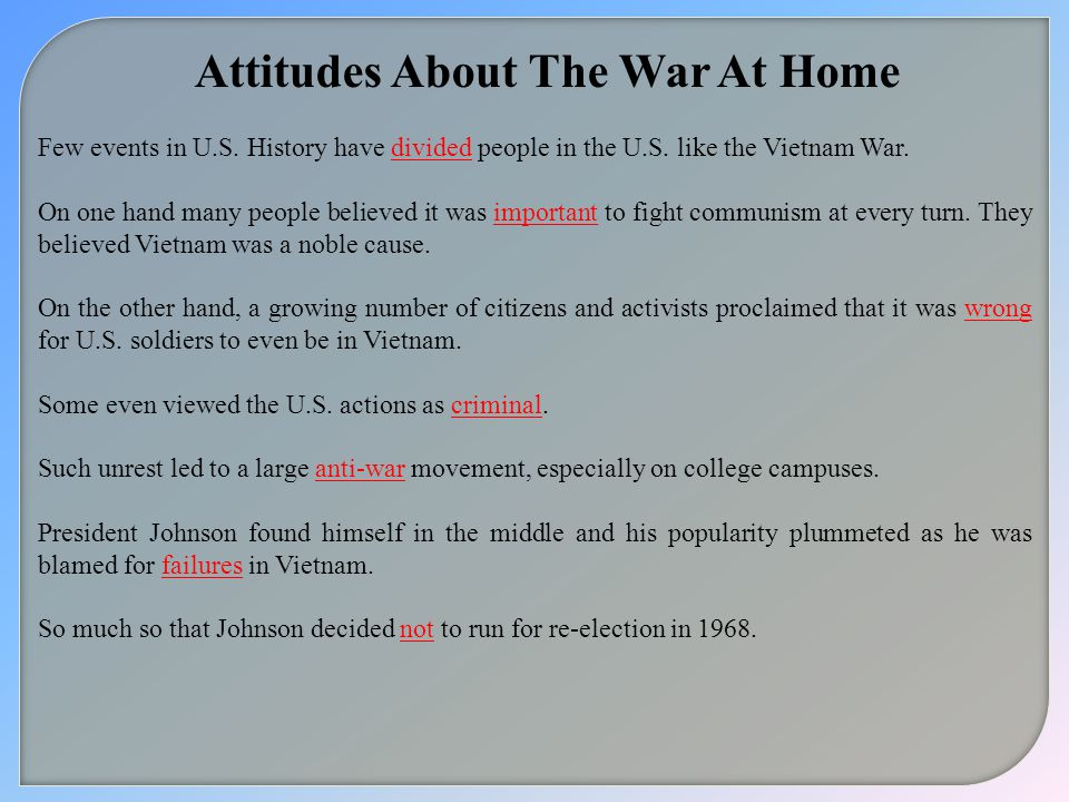 Attitudes About The War At Home
