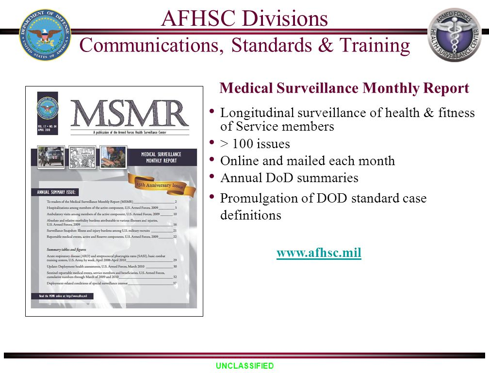 Medical Surveillance Monthly Report