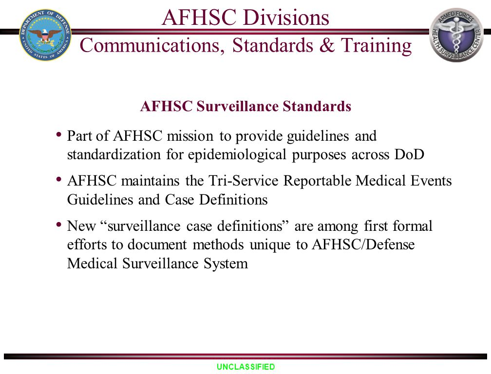 AFHSC Surveillance Standards