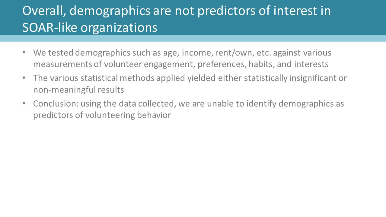 Overall, demographics are not predictors of interest in SOAR-like organizations