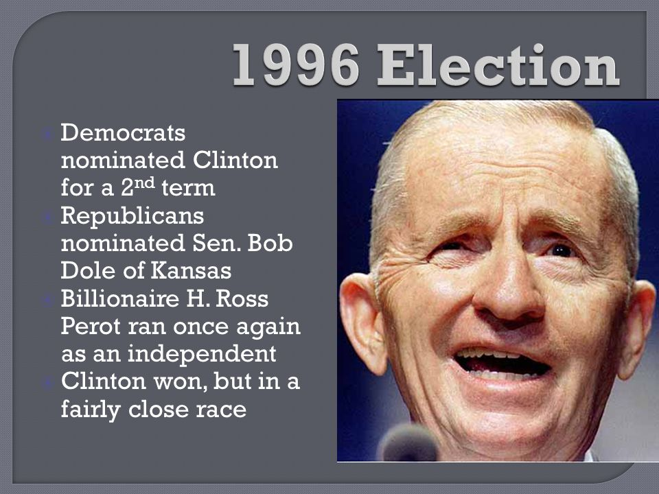 1996 Election Democrats nominated Clinton for a 2nd term
