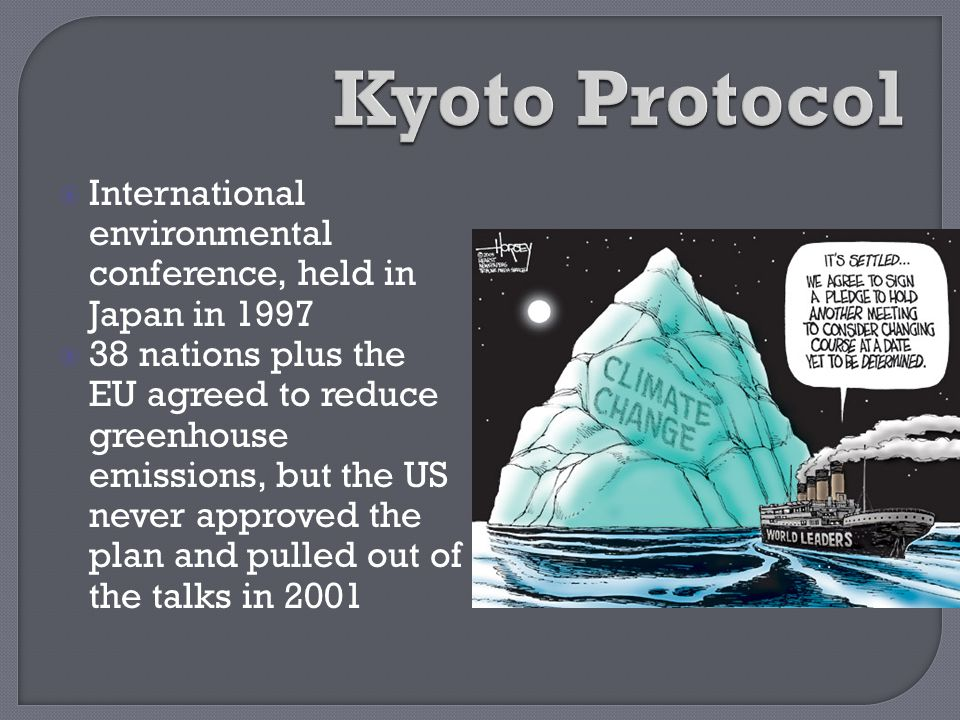 Kyoto Protocol International environmental conference, held in Japan in 1997.