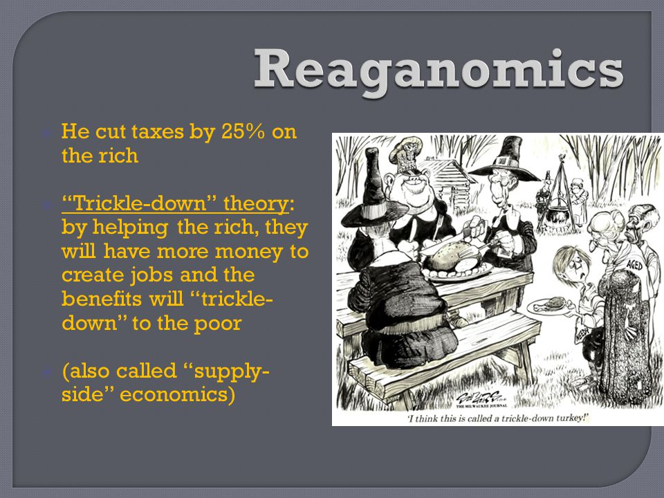 Reaganomics He cut taxes by 25% on the rich