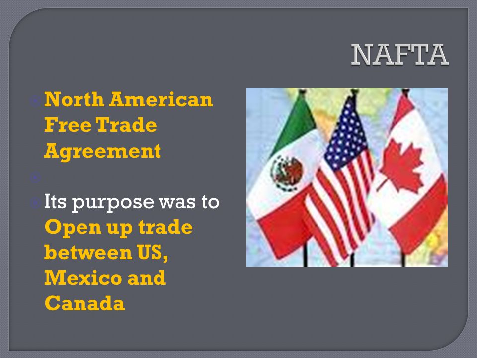 an introduction to the history of the nafta Introduction to nafta the north american free trade agreement (nafta) was implemented on january 1st, 1994 and is an agreement to remove both tariffs and investment barriers between the united states, canada, and mexico.