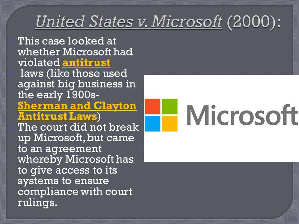 United States v. Microsoft (2000):