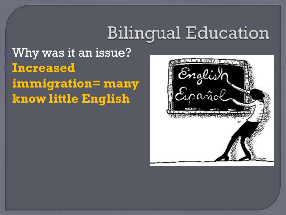 Bilingual Education Why was it an issue