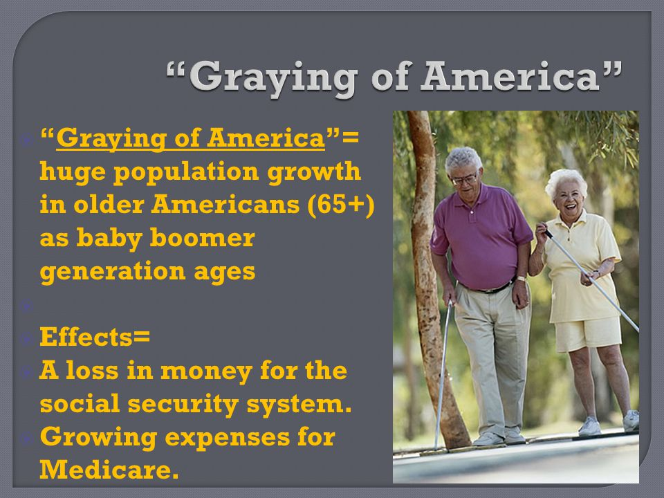 Graying of America Graying of America = huge population growth in older Americans (65+) as baby boomer generation ages.
