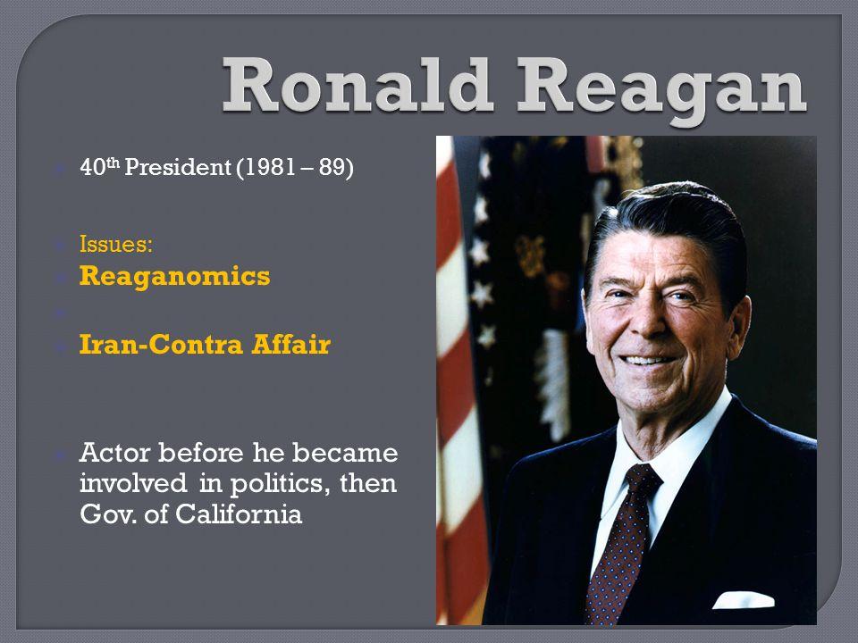 Ronald Reagan Reaganomics Iran-Contra Affair
