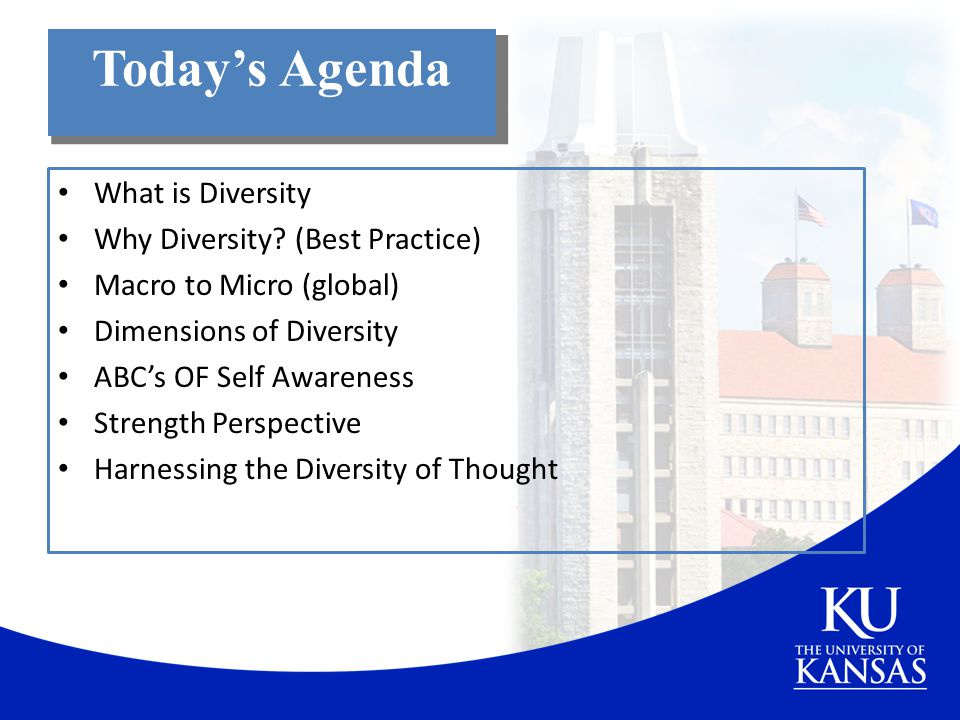 Today's Agenda What is Diversity Why Diversity (Best Practice)