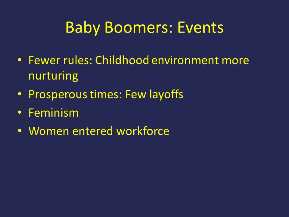 Baby Boomers: Events Fewer rules: Childhood environment more nurturing