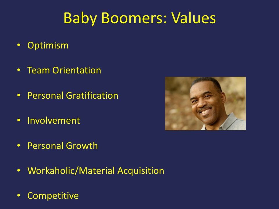 Baby Boomers: Values Optimism Team Orientation Personal Gratification