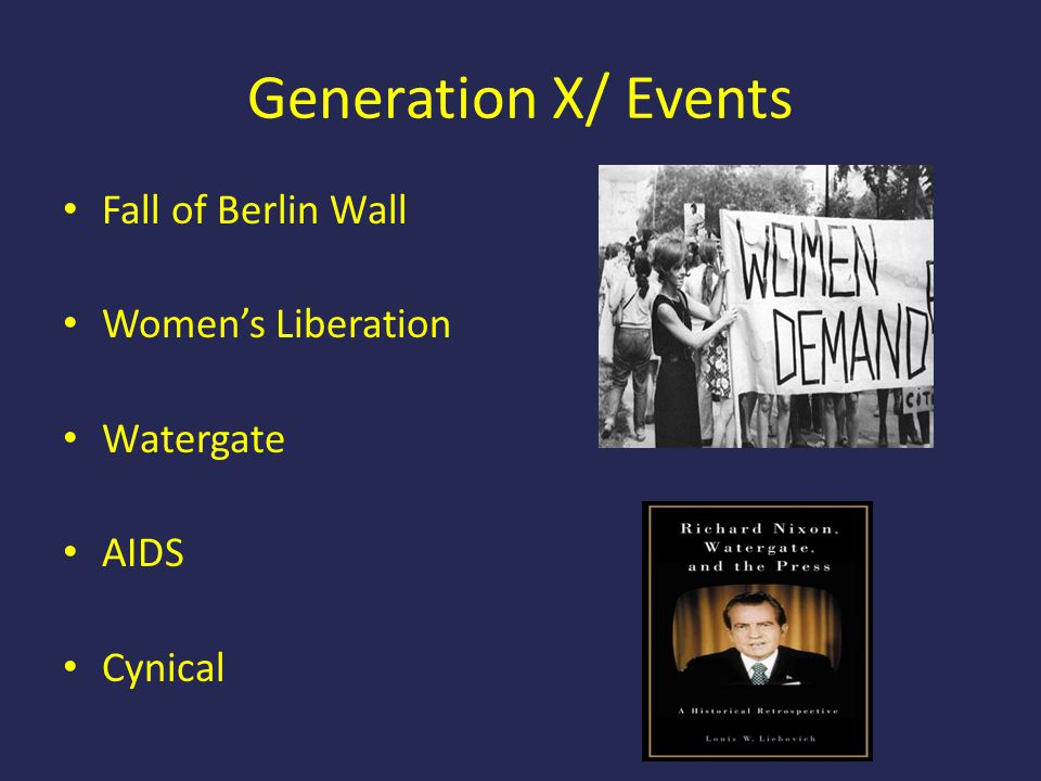 Generation X/ Events Fall of Berlin Wall Women's Liberation Watergate