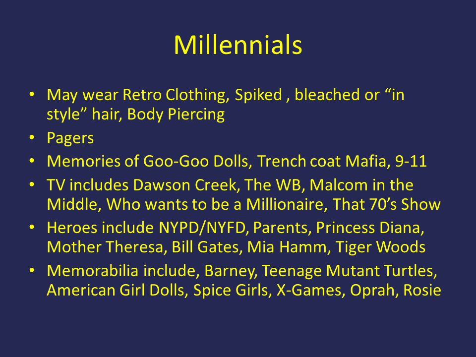 Millennials May wear Retro Clothing, Spiked , bleached or in style hair, Body Piercing. Pagers.