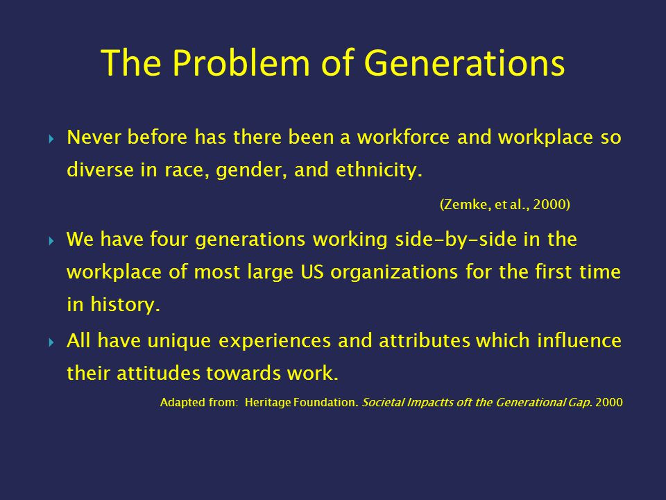 The Problem of Generations