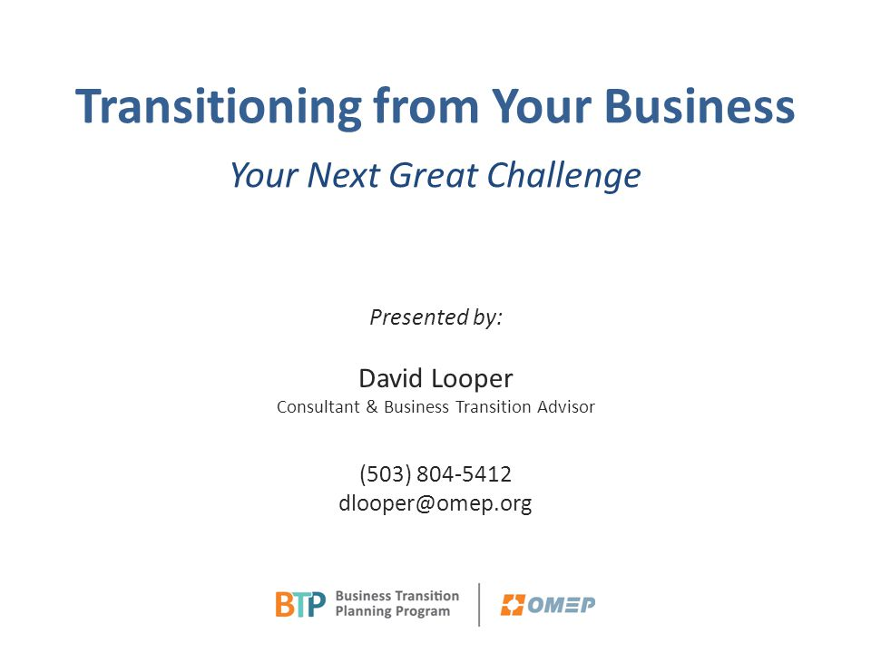 OMEP BTP Breakfast Presentation Slides