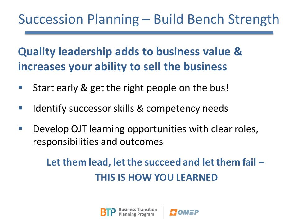 Succession Planning – Build Bench Strength