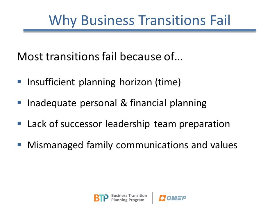 Why Business Transitions Fail