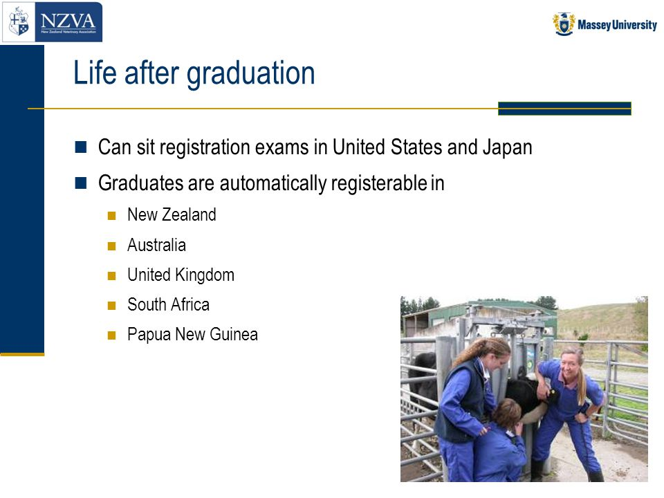 Life after graduation Can sit registration exams in United States and Japan. Graduates are automatically registerable in.