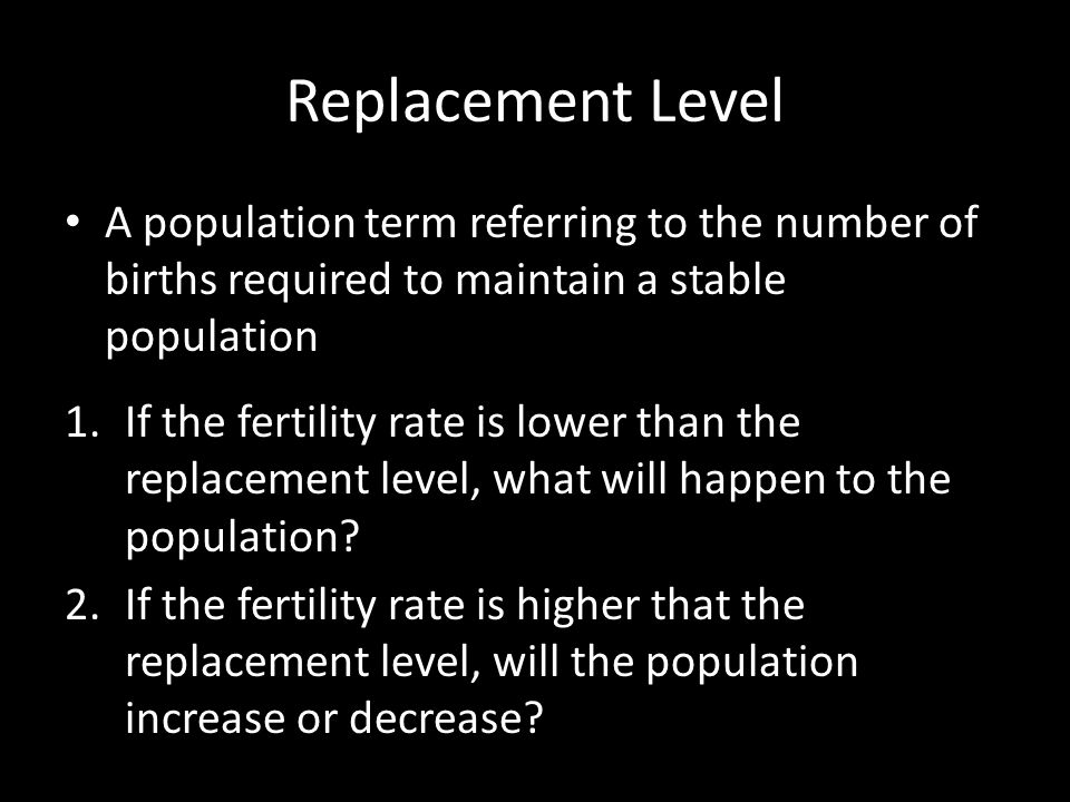 Replacement Level A population term referring to the number of births required to maintain a stable population.