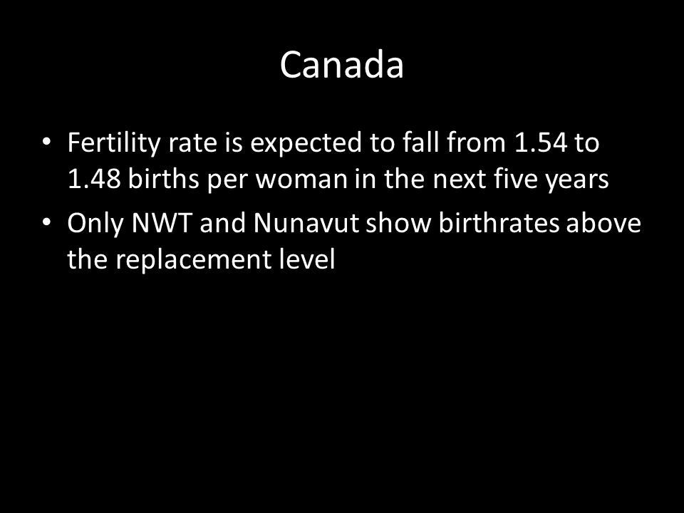 Canada Fertility rate is expected to fall from 1.54 to 1.48 births per woman in the next five years.