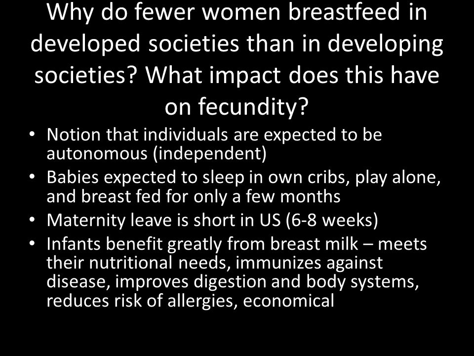Why do fewer women breastfeed in developed societies than in developing societies What impact does this have on fecundity