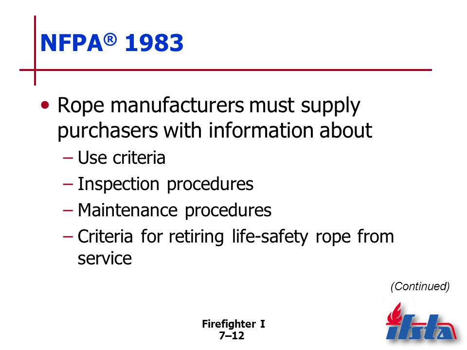 NFPA® 1983 Criteria to consider before life-safety rope is reused in life-safety situations. Must not be visibly damaged.