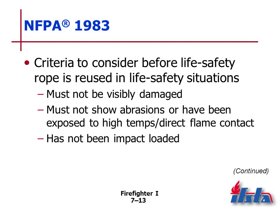 NFPA® 1983 Criteria to consider before life-safety rope is reused in life-safety situations.