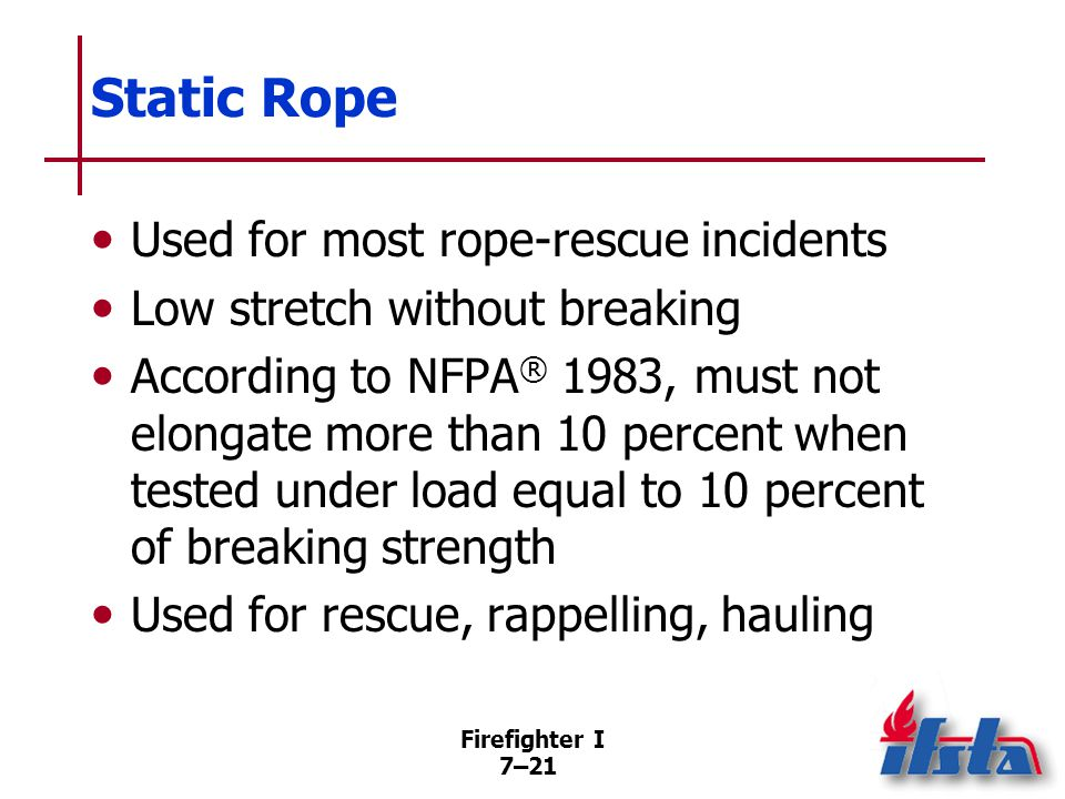 NFPA® 1983 Light Use Rope ⅜-inch (9.5 mm) diameter or greater, less than ½-inch (12.5 mm), intended to support one person's weight.