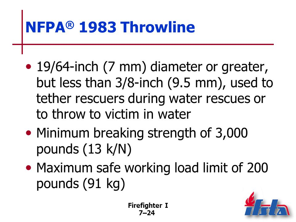 NFPA® 1983 Escape Rope Not life-safety or utility rope; constructed in same manner as life-safety rope.