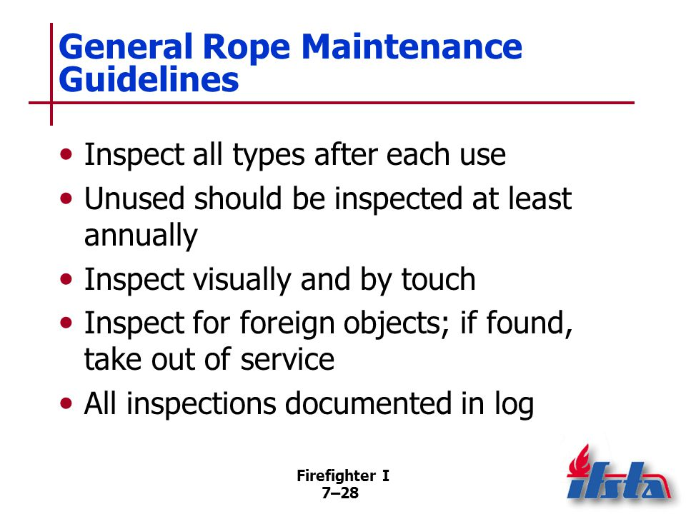 Types of Rope — Maintenance