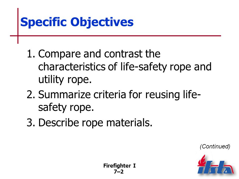 Specific Objectives 4. Describe types of rope construction.
