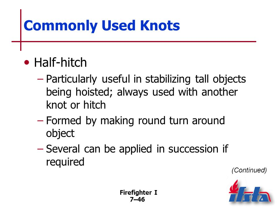 Commonly Used Knots Clove hitch May be formed by several methods