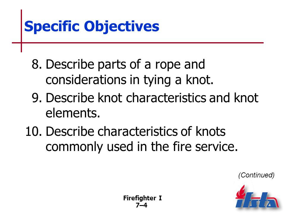 Specific Objectives 11. Select commonly used rope hardware for specific applications. 12. Summarize hoisting safety considerations.