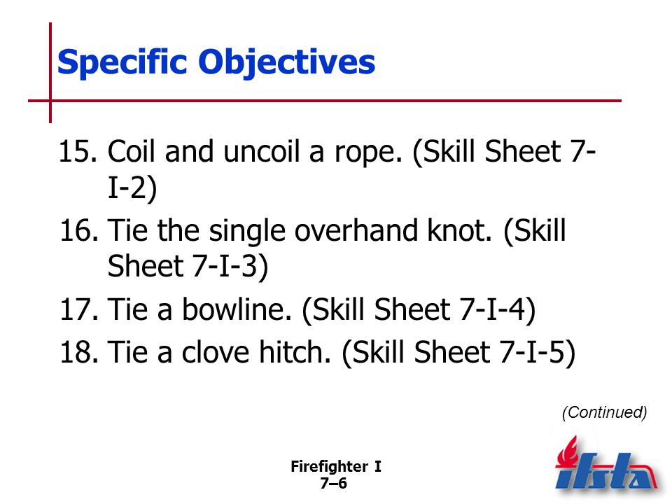 Specific Objectives 19. Tie a clove hitch around an object. (Skill Sheet 7-I-6) 20. Tie a figure eight. (Skill Sheet 7-I-7)