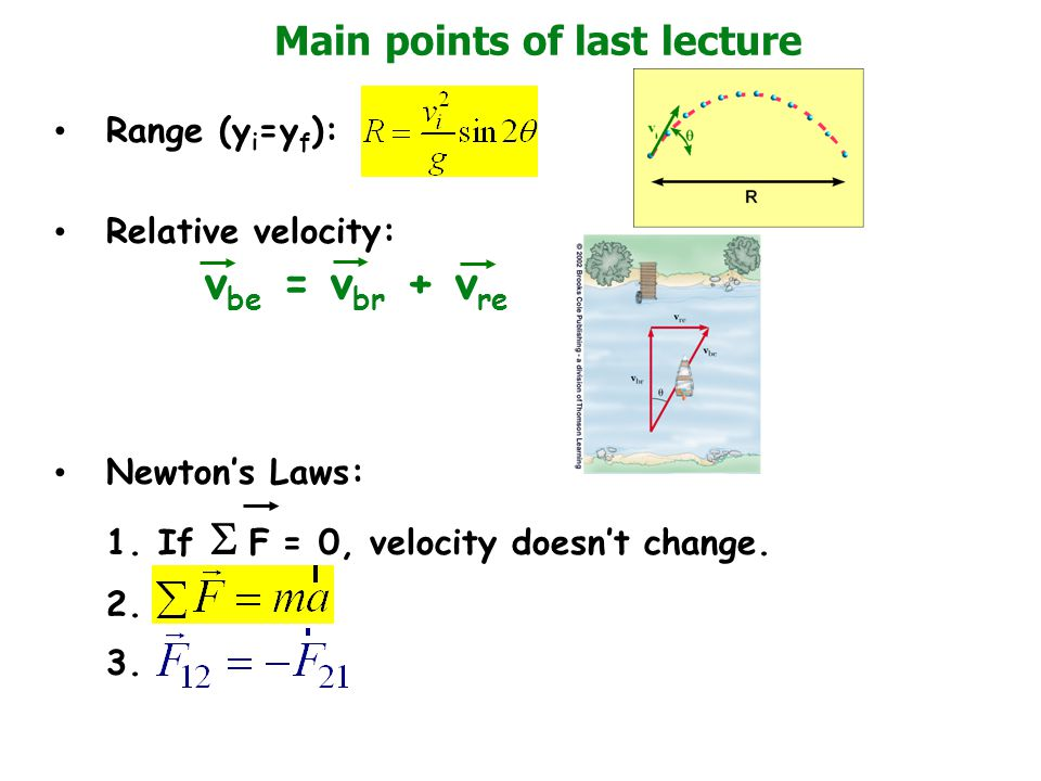 Main points of last lecture