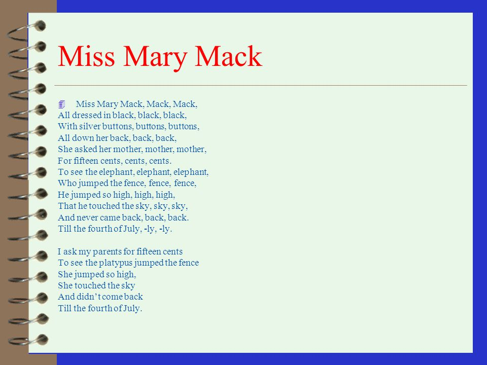 how to play mrs mary mack